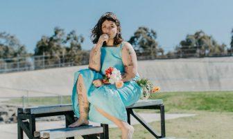 Shy Hero girl in dress