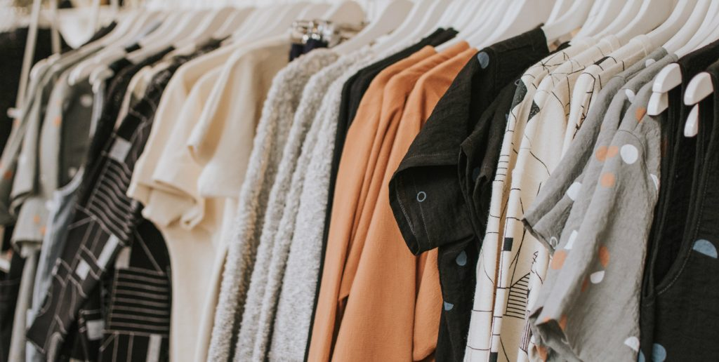 Clothes on a rack in store