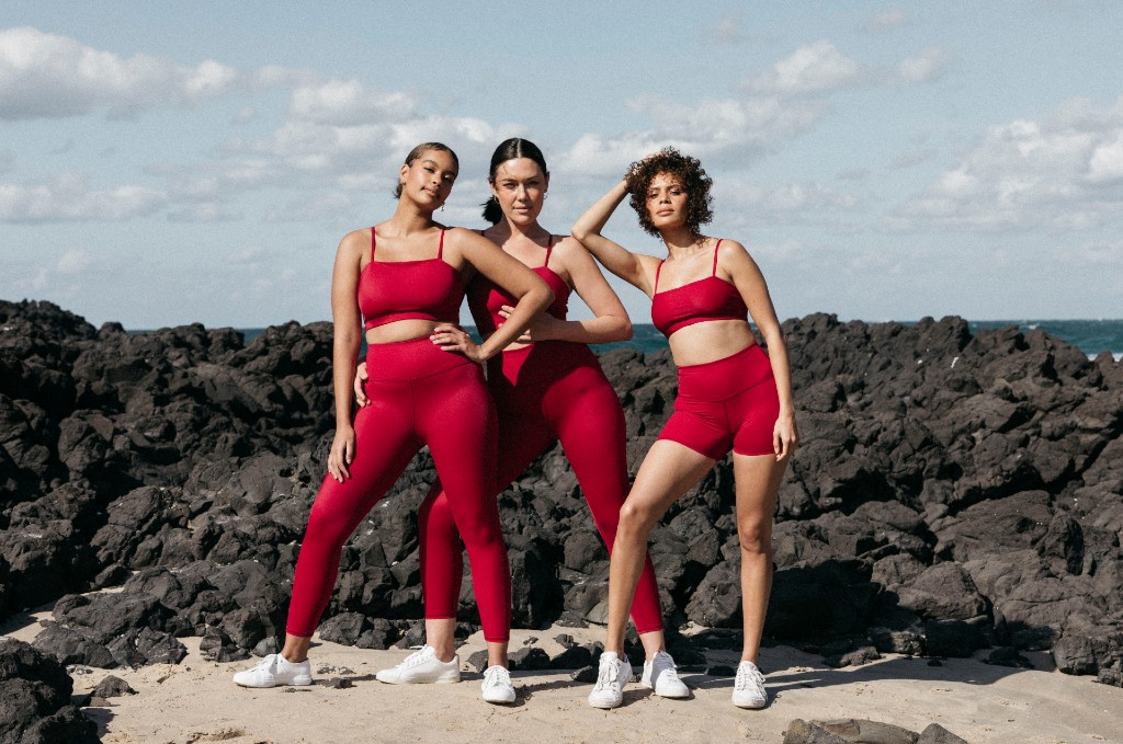 dk active models in red activewear