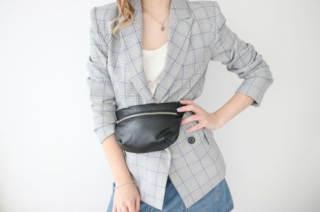 Black vegan handbag with zip