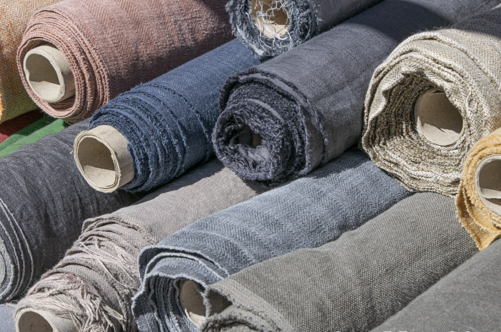 LInen fabric rolls in a store